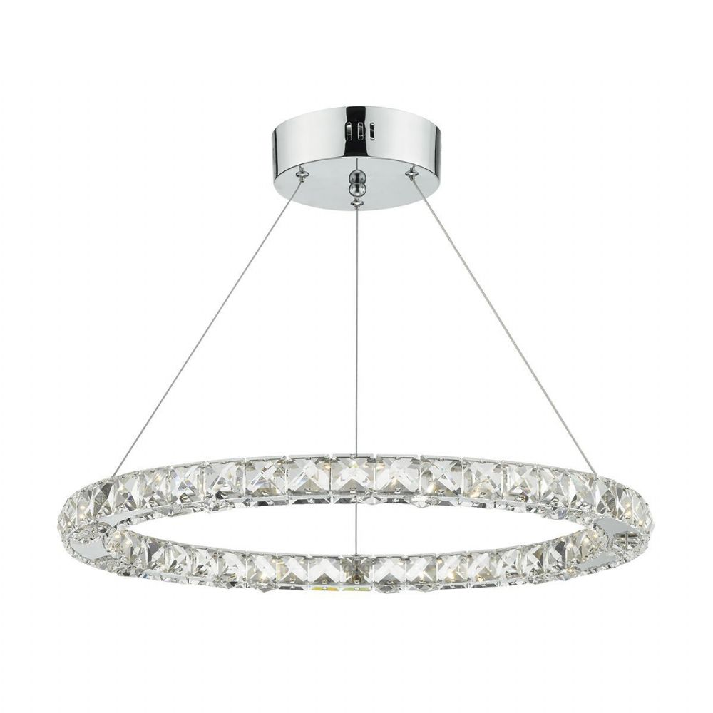 Roma Single Tier Pendant Crystal Polished Chrome Led